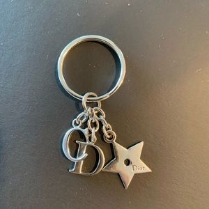 Authentic Christian Dior star charm key chain fob